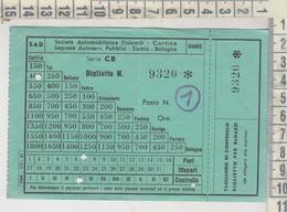 Biglietto Societa' Automobilistica Dolomiti Cortina D'ampezzo Belluno 1947 - Bus