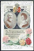 Allemagne - 1911 - Offizielle Postkarte Des Blumentages - Commémoration Des Noces D'Argent Du Couple Royal Du Wurtemberg - Covers & Documents