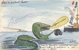 CPA Aquarellée Caricature Satirique Politique Serpent De Mer Retour D' Italie De E. LOUBET Illustrateur (2 Scans) - Satirical