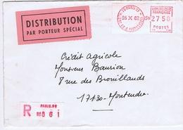 PARIS - Flamme PARIS 99 - 201 AV. J. JAURES ( 19e ) + Distribution Par Porteur Spécial - Marcophilie (Lettres)
