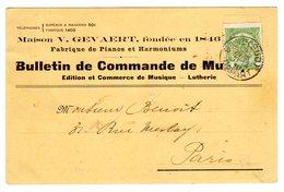 Bulletin De Commande De Musique V. Gevaert - Fabrique Pianos Et Harmonium - Lutherie - Bollo Perfin ... - Music