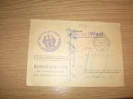 Bundesarchiv Kornelimunster Den Krs Aachen  To Berlin 1960 - Covers & Documents