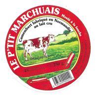 ETIQUETTE De FROMAGE..CAMEMBERT NORMANDIE..Le P'tit Marchuais..SARL Fromagerie CAMBERNON Le Boscqs à MARCHESIEUX (50) - Cheese