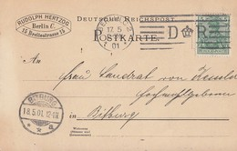 DR Ganzsache EF Minr.55 Berlin 17.5.01 Flaggenstempel - Covers & Documents