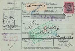 DR Paketkarte EF Minr.93I Ludwigsburg 17.12.12 Perfins W.C. Gel. In Schweiz - Covers & Documents