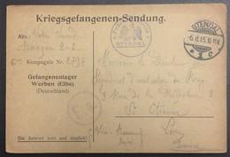 CP Prisonnier De Guerre Camp De WERBEN Censure Du Camp De STENDHAL Vers Saint-Etienne Aout 1915 - Marcofilia (sobres)