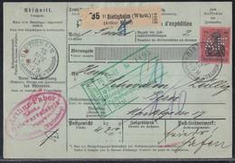 DR Paketkarte EF Minr.93I Bietigheim 15.11.12 Perfins A.F. Gel. In Schweiz - Covers & Documents