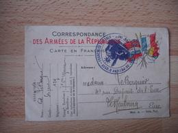 127 Eme Regiment Infanterie Potigny D Ussy  Cachet Franchise Postale Guerre 14.18 - Poststempel (Briefe)