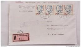 BRD-VGO: Wert-Bf Aus Dresden 44 (461) Mit Nachverwendeten V-Zettel -sehr Späte Verwendung Am 6.10.94- Knr: 1497 (4) - [7] Repubblica Federale