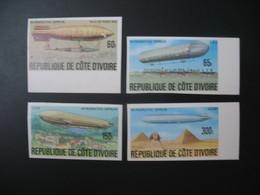 Timbre ND non Dentelé Neuf ** MNH - Imperf Côte-d'Ivoire    N° 434 à 438 Manque 437 Zeppelin - Zeppelins