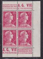 PUBLICITE: MARIANNE DE MULLER 15F ROUGE BANDES VERTIC. X2 A.G. VIE/A.G. VIE NEUFS*  ACCP 1195-1193 1194-1196 COTE 24E - Publicités