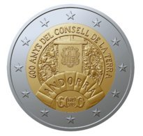 ANDORRA  COMMEMORATIVAS 600 ANYS DEL CONSELL  DE LA TERRA.  TIRADA 60.000 . - Andorra
