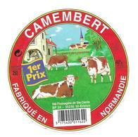 ETIQUETTE De FROMAGE..CAMEMBERT Fabriqué En NORMANDIE..Sté Fromagère De Ste Cécile à ST ERBLON (35) - Cheese