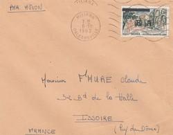 LETTRE. ALGERIE. 8 10 1962. PAR AVION. N° 1318 1,00 MEDEA SURCHARGÉ EA. MILIANA ORLEANSVILLE POUR ISSOIRE - Algeria (1962-...)