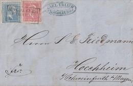 Preussen Brief Mif Minr.10,11 R3 Magdeburg Bahnhof 6.1. Gel. Nach Hochheim - Preussen