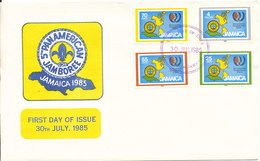Jamaica FDC 30-7-1985 Scout Scouting 5th Panamerican Jamboree Complete Set Of 4 With Cachet - Jamaica (1962-...)