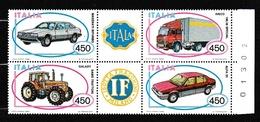 1984 Italia Italy Repubblica AUTOMOBILI - CARS 2 Serie MNH** In Blocco Di 4 Con Numero - Automobili