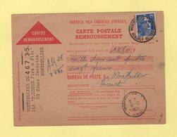 Carte Contre Remboursement - Montpellier Centralisateur - Herault - 10-12-1954 - Poststempel (Briefe)