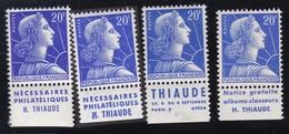 PUBLICITE: MARIANNE DE MULLER 20F BLEU THIAUDE X4 ACCP 1368/1369/1372/1377** ET* - Publicités