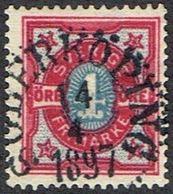 1892. Numeral Type. 4 öre Carmine & Ultramarine.  SÖDERKÖPING 14 4 1897. LUXUS.  (Michel 53) - JF164420 - Oblitérés