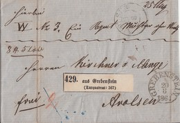 Thurn & Taxis Paketbegleitbrief K1 Grebenstein 20.8.1864 Gel. Nach Arolsen R3 Warburg Bahnhof 20.8. - Thurn Und Taxis