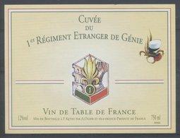 THEME ARMEE étiquette De Vin CUVEE DU LEGIONNAIRE 1er REGIMENT ETRANGER - Military