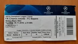 Football Ticket UEFA Champions League FK Crvena Zvezda : FC Bayern 26.11.2019 Belgrade - Tickets D'entrée
