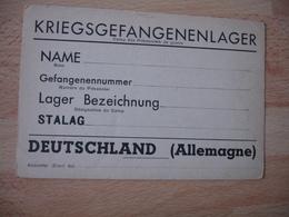Guerre 39.45 Carte Pre Imprime Correspondance Pour Prisonniers Stalag - Guerre De 1939-45