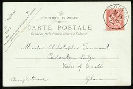 """1903 Oblitération """"LONDON MB 15/08/03"""" Sur N°124 10ct Type Mouchon, Sur CP Représentant L'arrivée Du Sussex à Dieppe - Marcophilie (Lettres)"""