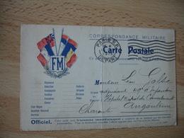 Carte Franchise F M 5 Drapeau Coin Gauche Franchise Postale Guerre 14.18 - Marcophilie (Lettres)