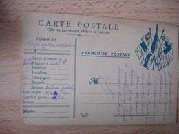 Carte Couleur Bleue Drapeau Coin Droit 7 Drapeau Franchise Postale Guerre 14.18 - Marcophilie (Lettres)