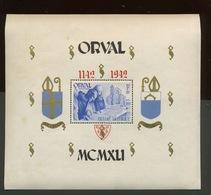 Bloc 20* Orval Surcharge Gothique*  Cote 22,50-€. Aminci Sur Un Côté - Blocks & Sheetlets 1924-1960