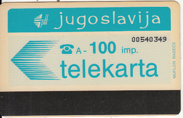 YUGOSLAVIA - Telecom Logo 100 Units(muflon Radece)(ISKRA Advertisement On Reverse), CN: 8 Digits, Used - Jugoslawien