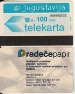 YUGOSLAVIA(Autelca) - Telecom Logo 100 Units(radece Papir/muflon)(radece Papir On Reverse), CN : 9 Digits, Used - Jugoslawien