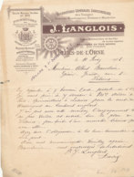 FA 1499  FACTURE - FILATURES BLANCHISSERIES TEINTURES & MINOTERIES J. LANGLOIS   FLERS DE L'ORNE   ORNE (1909) - Textile & Vestimentaire