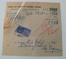Lot Vieux Papiers Société Des Salins Et Pêcherie De Hyères 1955 Timbre 16frs 8fr - Petits Métiers