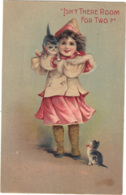 Children - Artist Drawn, Embossed, Cats 'is There Room For Two', - Children
