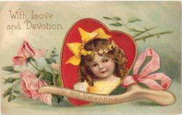 Children - Artist Drawn, Embossed, Valentine, 'with Love And Devotion', Heart - Children