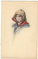 Children - Artist Drawn, Child Wearing A Hat, Rain Hat - Children