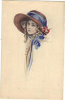 Children - Artist Drawn, Child Wearing A Hat,   Blue Ribbon - Children