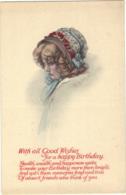 Children - Artist Drawn, Child Wearing A Hat,   Light Blue Ribbon, 'with All Good Wishes' - Children