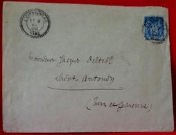 MARCOPHILIE ENVELOPPE Timbre à Date Au Type 25 Perlé  .1888 . De L'ESTRECHURE ( GARD ) à SAINT ANTONIN (T & G) - Marcophilie (Lettres)