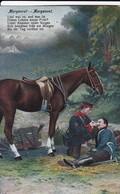 AK Deutscher Soldat Mit Verwundetem Und Pferd - Morgenrot - Patriotika - 1. WK (45410) - Weltkrieg 1914-18