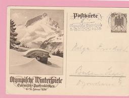 Th.15 Entier Postal Olympische Winterschpiele Garmisch-Partenkirschen +Flamme 15.2.36 = Saut à Ski 2 - Winter 1936: Garmisch-Partenkirchen