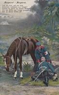 AK Deutscher Soldat Mit Verwundetem Und Pferd - Morgenrot - Patriotika - Feldpost Trier 1915 (45414) - Weltkrieg 1914-18