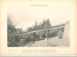 Prent (13 X 18 Cm) Paysages Suisses  Rigi-Bahn Schnurtobelbrücke Und Pilatus Chemin De Fer Du Righi - Altri