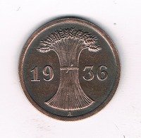 2 PFENNIG 1936 A DUITSLAND /9132/ - 2 Reichspfennig