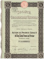 Titre Ancien - Société Commerciale Vinicole - Société Anonyme  - Titre De 1920 - Industrie