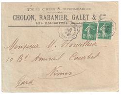 ANGOULEME à BORDEAUX BASTIDE Lettre Entête CHOLON Les Eglisottes Gironde Convoyeur T 2 Ob 1907 5 C Semeuse Vert Yv 137 - Railway Post