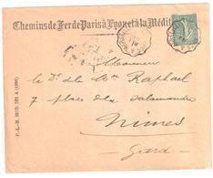 LES ARCS à MARSEILLE Lettre Convoyeur Type 2 Ob 1/7/ 1901 15 C Semeuse Lignée Vert Yv 130 - Railway Post
